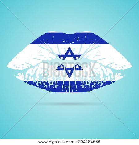 Israel Flag Lipstick On The Lips Isolated On A White Background. Vector Illustration. Kiss Mark In Official Colors And Proportions. Independence Day