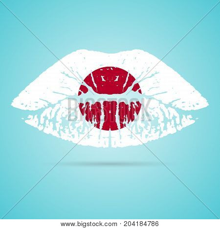 Japan Flag Lipstick On The Lips Isolated On A White Background. Vector Illustration. Kiss Mark In Official Colors And Proportions. Independence Day