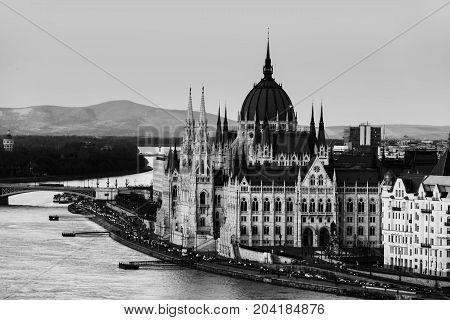 Budapest Hungary. Aerial view of Budapest Hungary at sunset. Parliament building with Danube river. Black and white
