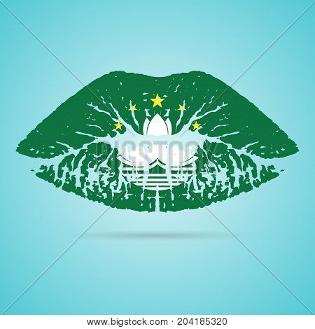 Macau Flag Lipstick On The Lips Isolated On A White Background. Vector Illustration. Kiss Mark In Official Colors And Proportions. Independence Day