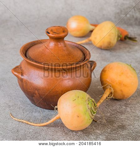 Fresh raw yellow turnip and brown clay pot on a gray background. Preparation of steamed turnips.