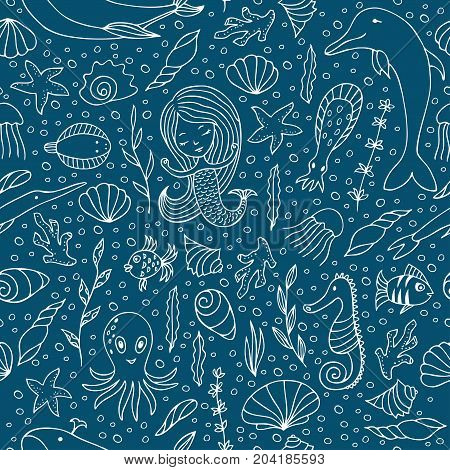 Contour seamless pattern. White contours on dark background. Marine animals and fish, mermaids and seashells hand-drawn.