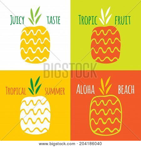 The pineapple is hand-drawn. Two seamless pattern with pineapples. Vector set of images for printing on fabric, clothes, packaging, Wallpapers.