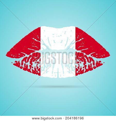 Peru Flag Lipstick On The Lips Isolated On A White Background. Vector Illustration. Kiss Mark In Official Colors And Proportions. Independence Day