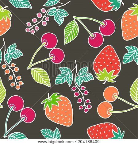 Juicy berries seamless pattern. Bright juicy cherry, strawberry and currant on dark background. Vector image drawn by hand in cartoon style.