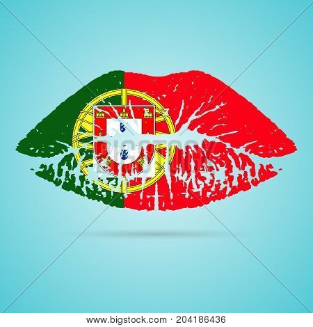 Portugal Flag Lipstick On The Lips Isolated On A White Background. Vector Illustration. Kiss Mark In Official Colors And Proportions. Independence Day