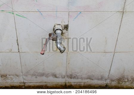 Water tap faucet with valve handle hinged on white tiles.