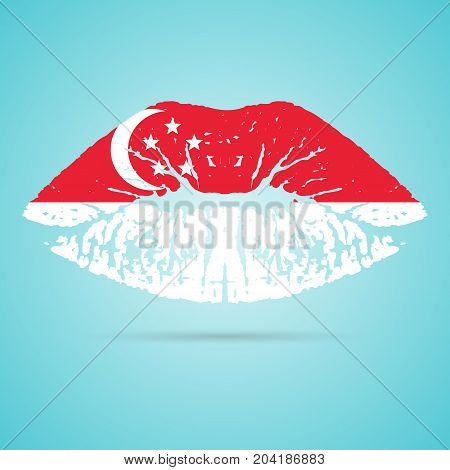 Singapore Flag Lipstick On The Lips Isolated On A White Background. Vector Illustration. Kiss Mark In Official Colors And Proportions. Independence Day