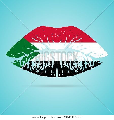 Sudan Flag Lipstick On The Lips Isolated On A White Background. Vector Illustration. Kiss Mark In Official Colors And Proportions. Independence Day