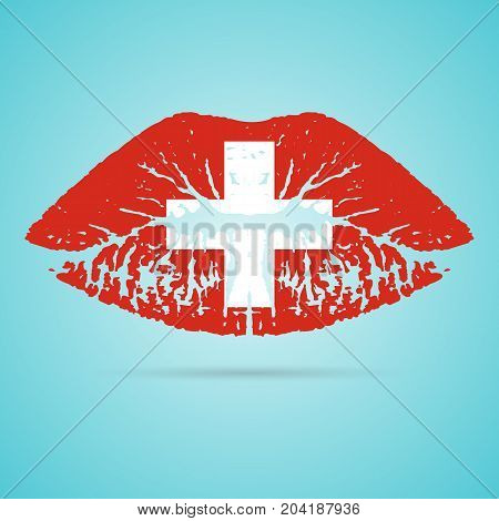 Switzerland Flag Lipstick On The Lips Isolated On A White Background. Vector Illustration. Kiss Mark In Official Colors And Proportions. Independence Day
