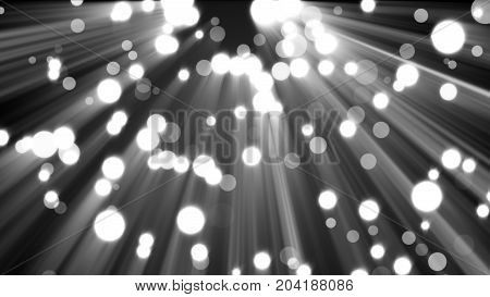 Abstract glitter lights on black background. Round defocused circles bokeh and shine effect. 3d rendering Template for design