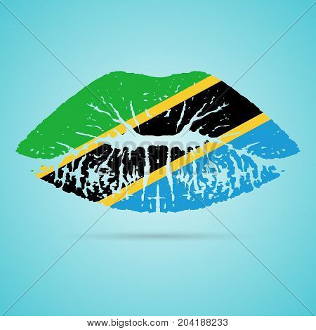 Tanzania Flag Lipstick On The Lips Isolated On A White Background. Vector Illustration. Kiss Mark In Official Colors And Proportions. Independence Day