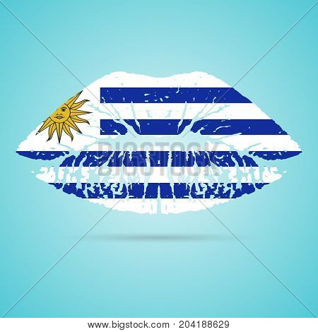 Uruguay Flag Lipstick On The Lips Isolated On A White Background. Vector Illustration. Kiss Mark In Official Colors And Proportions. Independence Day
