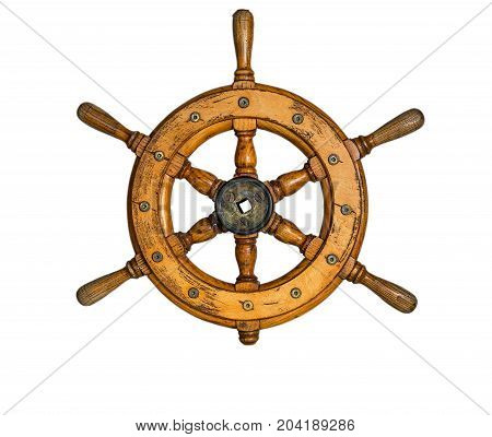 Isolated Vintage Wooden And Brass Ship's Steering Wheel With White Background