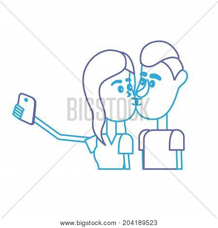 line couple kissing and taking selfie with smartphone vector illustration