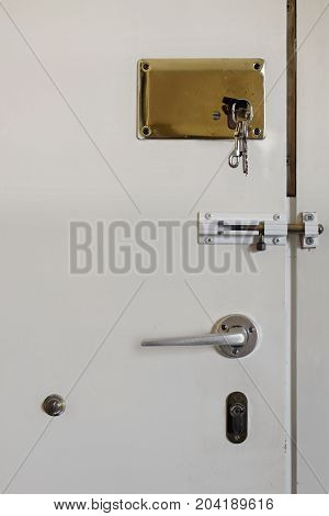 Apartment door with two key locks and latch slide. Home security.