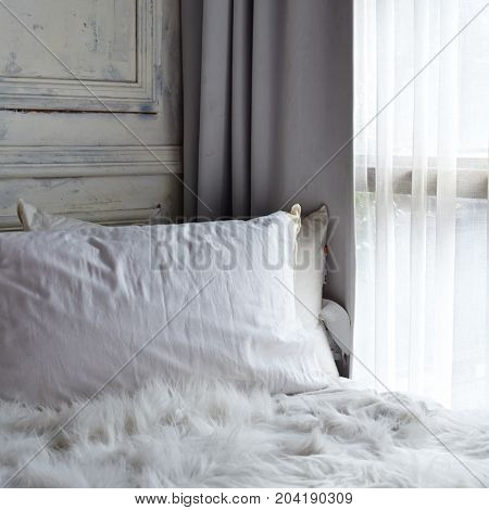 White Bedroom With White Curtain On Window