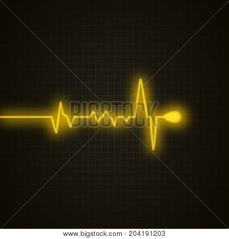 Medical background with heart cardiogram. Heart pulse graphic isolated on black. Vector background.