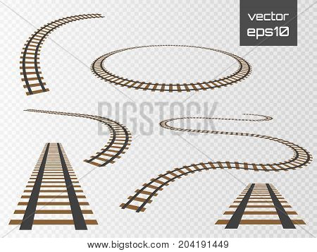 Isolated vector rails set. Railways on white background. Railroad tracks.