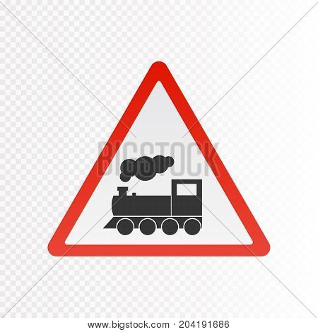 Train warning sign isolated on white. Vector illustration. Railway sign.