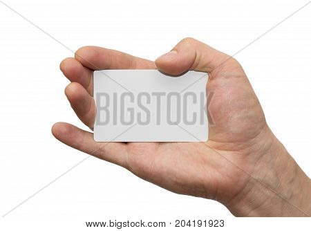 white card in hand on white background