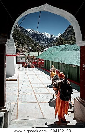 Gangotri Uttarakhand - September 2017. А group of hindu pilgrims walking to the source of the holy river Ganges. North India.
