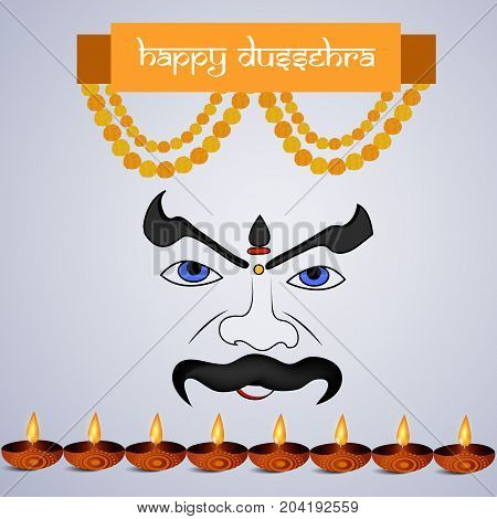 illustration of evil face, lamps and decoration with Happy Dussehra text on the occasion of hindu festival Dussehra