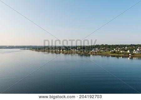 Homes along the Sydney River Sydney Cape Breton Island Nova Scotia Canada