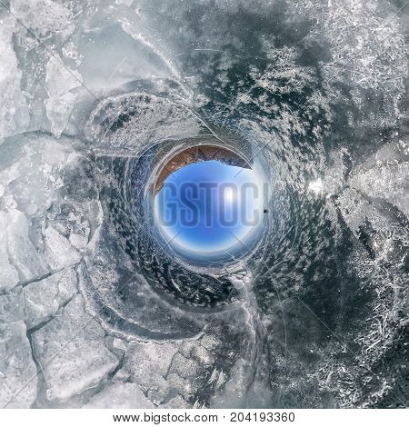 Crack On The Ice Of Lake Baikal From Olkhon. Spherical 360 Panorama Little Planet