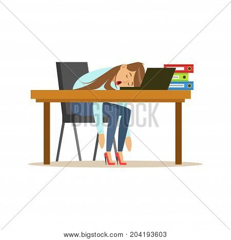 Tired businesswoman sleeping on the desk with laptop, exhausted office worker relaxing vector Illustration on a white background