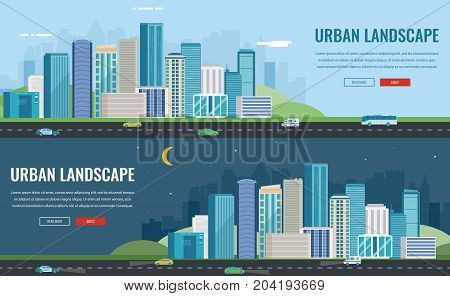 Day and night urban landscape. Modern city. Building architecture, cityscape town. Concept website template. Vector illustration