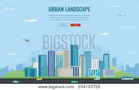 Urban landscape. Modern city. Building architecture, cityscape town. Concept website template. Vector illustration