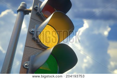 3D illustration. Traffic light with yellow light on signal for proceed with caution.