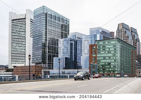 BOSTON - DECEMBER 13: Portrait of Downtown financial district on December 13 2015 in Boston MA USA