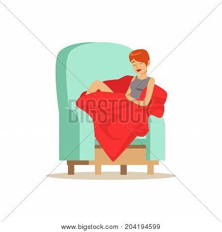 Beautiful young woman wrapped in red blanket sleeping on armchair, relaxing person vector Illustration on a white background