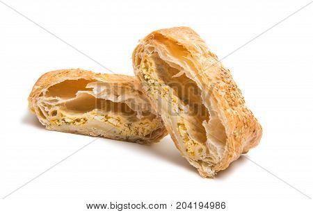 Puff pastry cookies isolated on white background