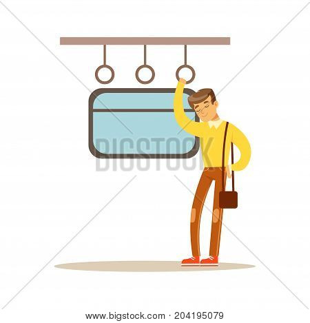 Young man sleeping in the train vector Illustration on a white background