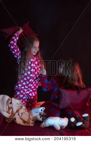 Childhood And Fun Concept. Children Have Pajama Party