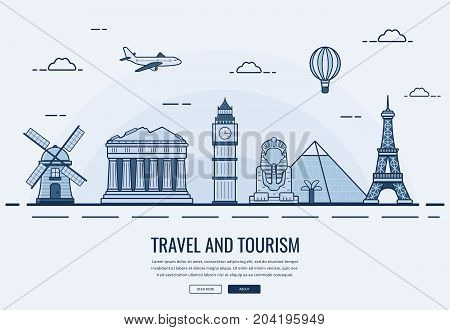 Travel composition with famous world landmarks. Travel and Tourism. Concept website template. Vector illustration