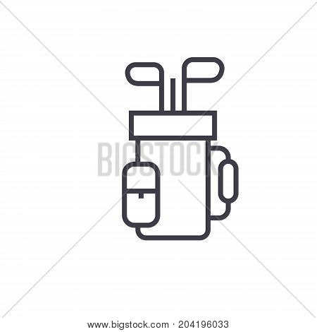 Golf bag flat line illustration, concept vector isolated icon