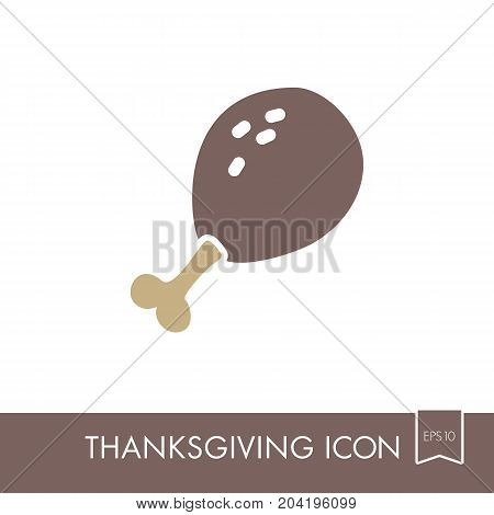 Roasted Chicken thigh icon. Harvest. Thanksgiving vector illustration eps 10