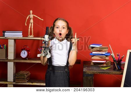 Kid And School Supplies On Red Wall Background