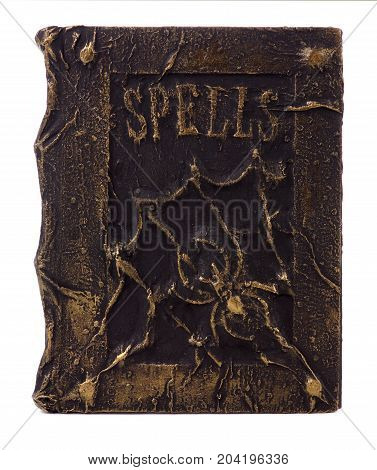 Spooky Handmade Halloween Spell Book Isolated On A White Background