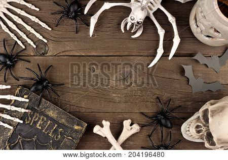 Halloween Frame Of Black And White Decor Over A Rustic Old Wood Background