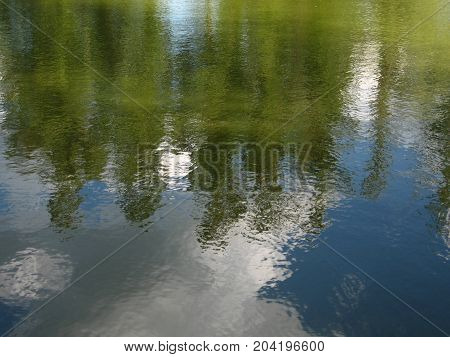 The water reflections summer sky and trees