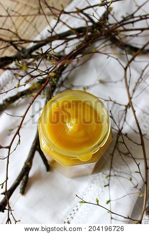 Lemon Curd In A Glass Jar. Rustic Style, Selective Focus.