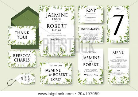 Wedding Invitation invite card Design: tree green branches leaves foliage composition greenery wreath. Vector Botanical Template forest elegant cute set Anniversary collection thank you menu rsvp