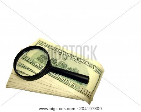 Isolated objects on white background dollars lens