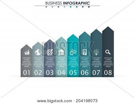 Business data, chart. Abstract elements of graph, diagram with 8 steps, strategy, options, parts or processes. Vector business template for presentation. Creative concept for infographic
