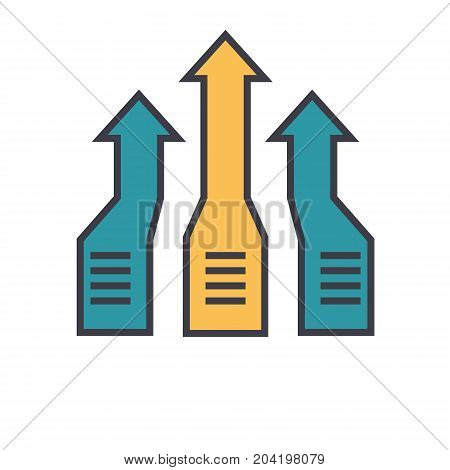 Arrows up, progress flat line illustration, concept vector icon isolated on white background